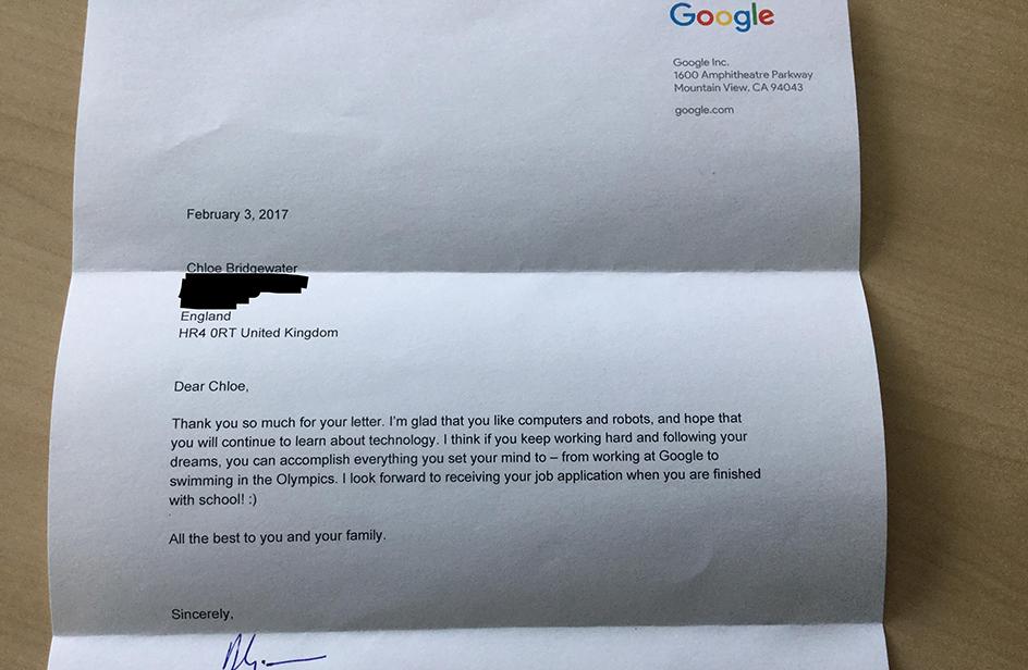 """""""Caro boss di Google, mi chiamo Chloe e quando sarà grande voglio lavorare per voi"""""""